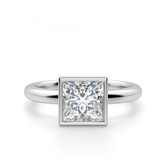 Кольцо с бриллиантом огранки «принцесса» в грухой закрепке, Больше Изображение 1