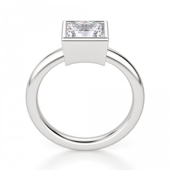 Кольцо с бриллиантом огранки «принцесса» в грухой закрепке,  Больше Изображение 2