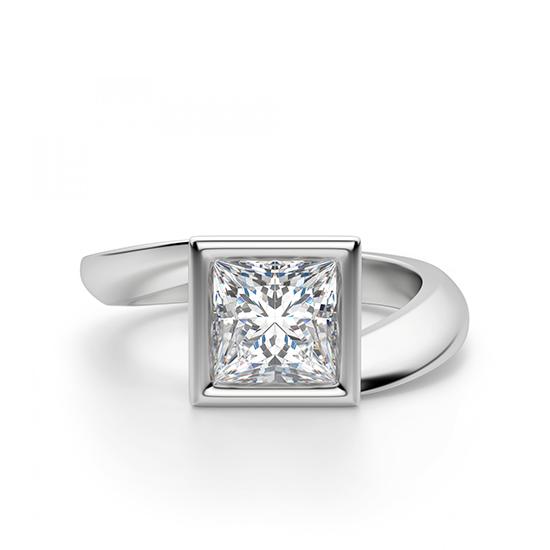 Кольцо Твист из золота с бриллиантом Принцесса, Больше Изображение 1