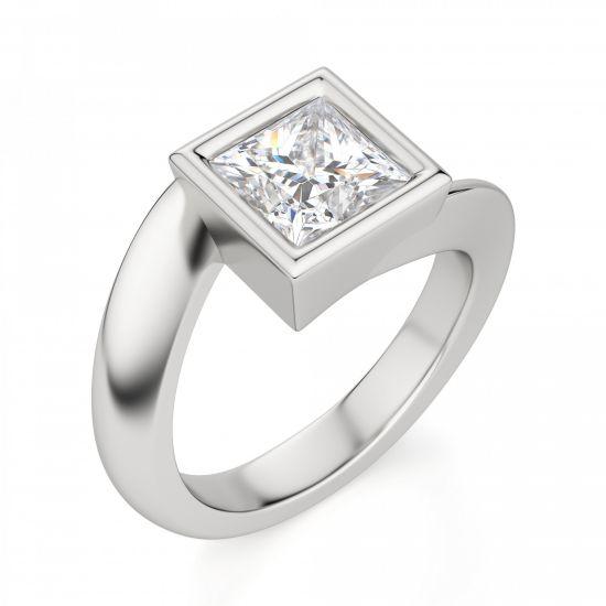 Кольцо Твист из золота с бриллиантом Принцесса,  Больше Изображение 3