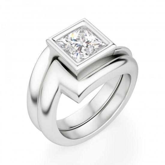 Кольцо Твист из золота с бриллиантом Принцесса,  Больше Изображение 4