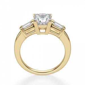 Кольцо с бриллиантом Принцесса и багетами - Фото 2