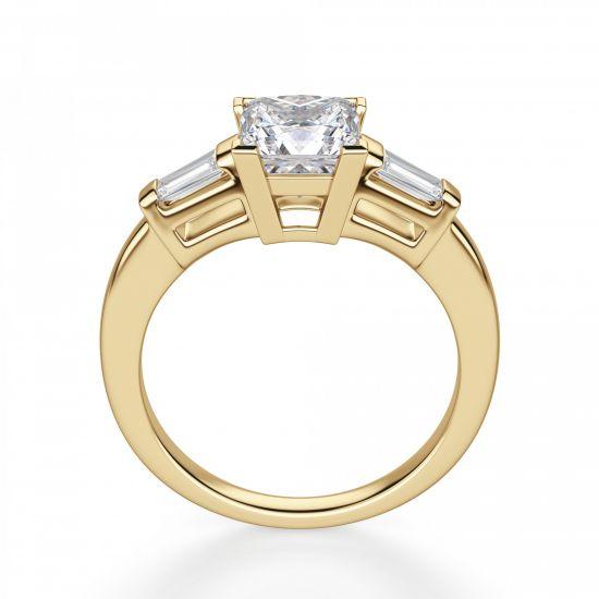 Кольцо с бриллиантом Принцесса и багетами,  Больше Изображение 3
