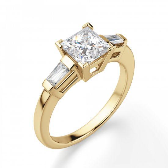 Кольцо с бриллиантом Принцесса и багетами,  Больше Изображение 4