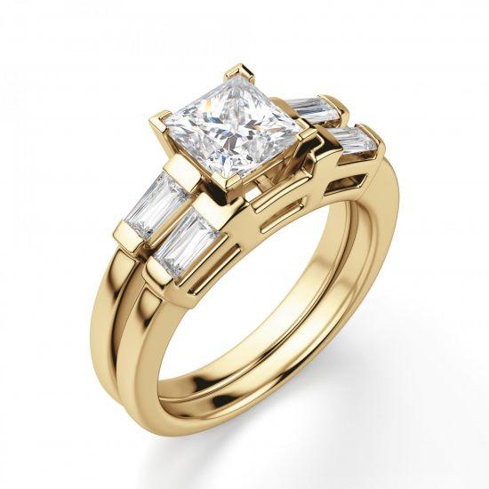 Кольцо с бриллиантом Принцесса и багетами,  Больше Изображение 2