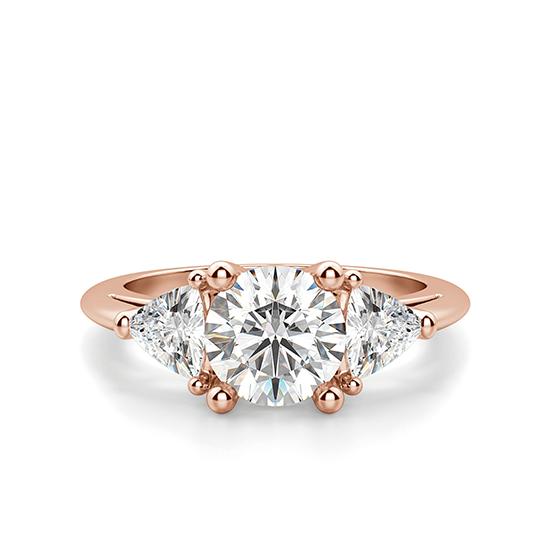 Кольцо с 3 бриллиантами из розового золота, Больше Изображение 1