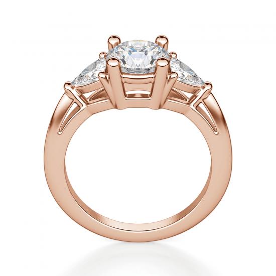 Кольцо с 3 бриллиантами из розового золота,  Больше Изображение 2