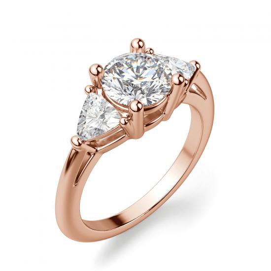 Кольцо с 3 бриллиантами из розового золота,  Больше Изображение 3