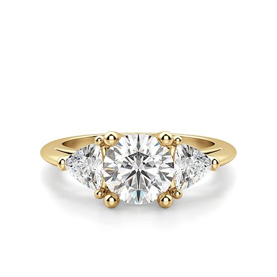 Кольцо с 3 бриллиантами из желтого золота, Больше Изображение 1