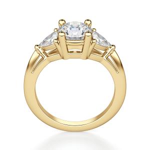 Кольцо с 3 бриллиантами из желтого золота - Фото 1