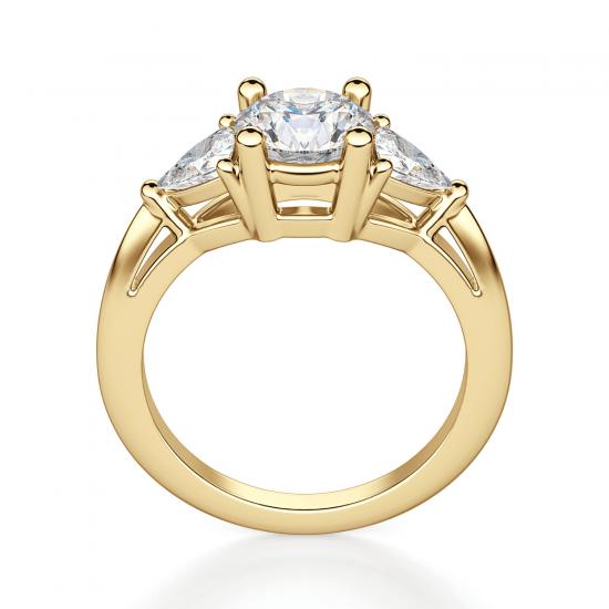 Кольцо с 3 бриллиантами из желтого золота,  Больше Изображение 2