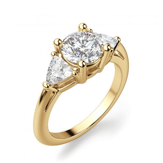 Кольцо с 3 бриллиантами из желтого золота,  Больше Изображение 3