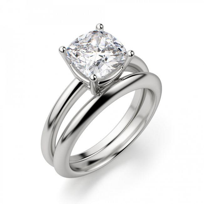 Кольцо солитер с бриллиантом огранки кушон - Фото 3