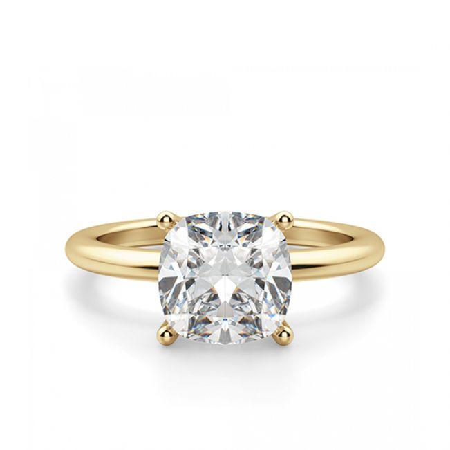 Кольцо тонкое с бриллиантом Кушон