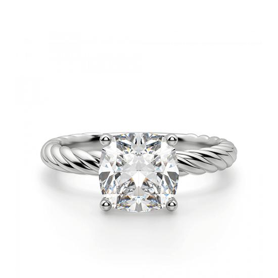 Кольцо канат с бриллиантом Кушон, Больше Изображение 1