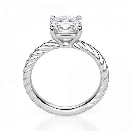 Кольцо канат с бриллиантом Кушон,  Больше Изображение 2