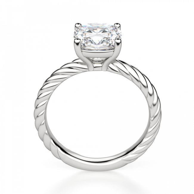 Кольцо канат с бриллиантом Кушон