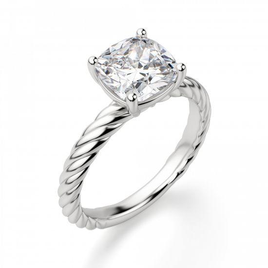 Кольцо канат с бриллиантом Кушон,  Больше Изображение 3