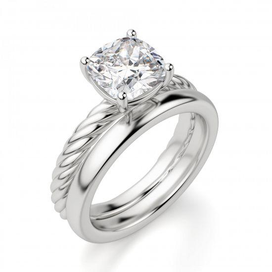 Кольцо канат с бриллиантом Кушон,  Больше Изображение 4