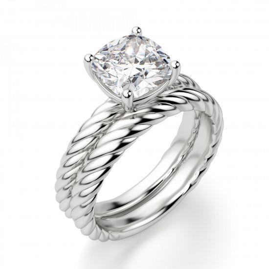 Кольцо канат с бриллиантом Кушон,  Больше Изображение 5