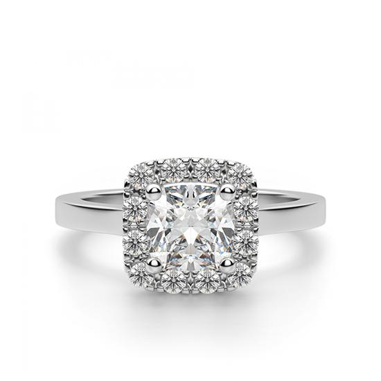 Кольцо с бриллиантом огранки «кушон» в ореоле, Больше Изображение 1