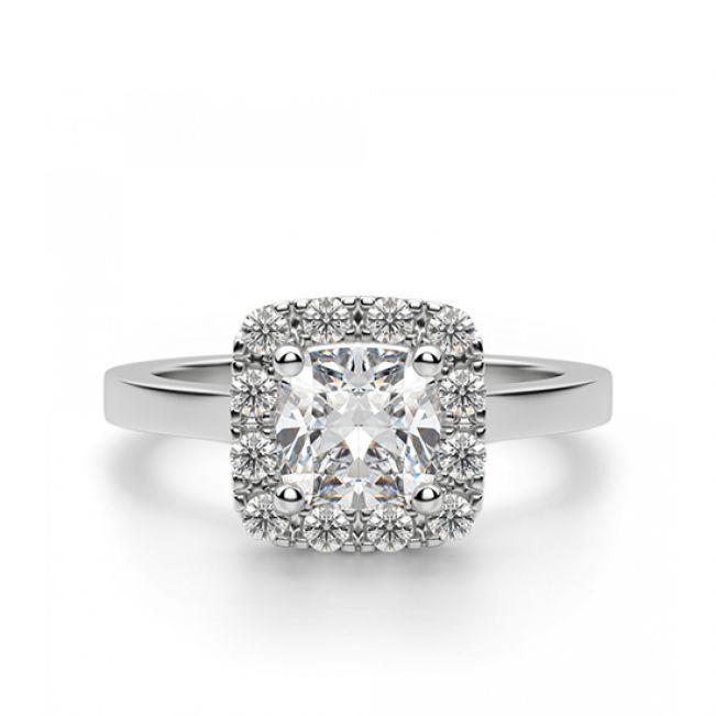 Кольцо с бриллиантом огранки «кушон» в ореоле