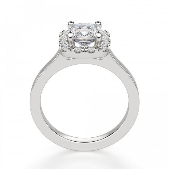 Кольцо с бриллиантом огранки «кушон» в ореоле,  Больше Изображение 2