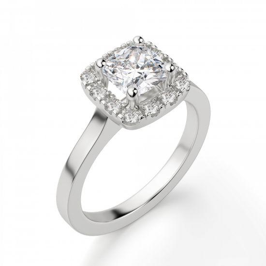 Кольцо с бриллиантом огранки «кушон» в ореоле,  Больше Изображение 3