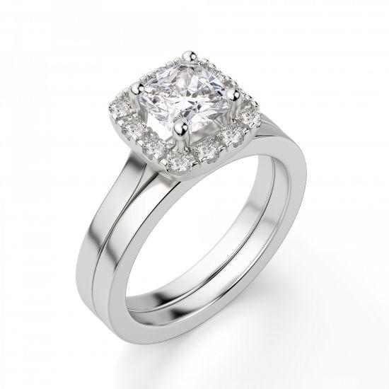 Кольцо с бриллиантом огранки «кушон» в ореоле,  Больше Изображение 5