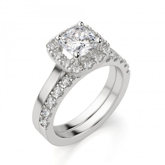 Кольцо с бриллиантом огранки «кушон» в ореоле,  Больше Изображение 4