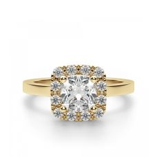 Кольцо с бриллиантом «кушон» в ореоле