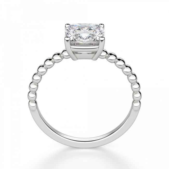 Кольцо с бриллиантом Кушон на шинке из шариков