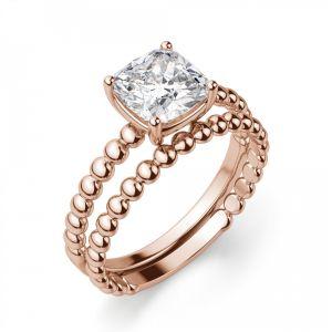Кольцо из шариков с бриллиантом Кушон