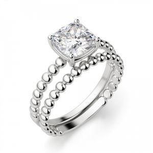 Кольцо с бриллиантом Кушон на шинке из шариков - Фото 1