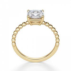 Кольцо с бриллиантом огранки Кушон на шинке из шариков