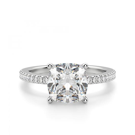 Кольцо с бриллиантом Кушон с паве по бокам, Больше Изображение 1