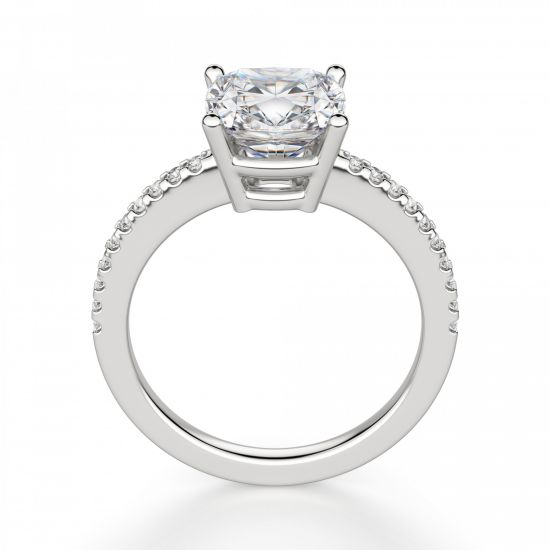 Кольцо с бриллиантом Кушон с паве по бокам,  Больше Изображение 3