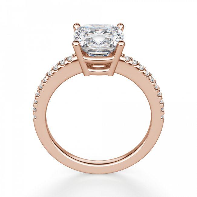 Кольцо из золота с бриллиантом Кушон с паве - Фото 1