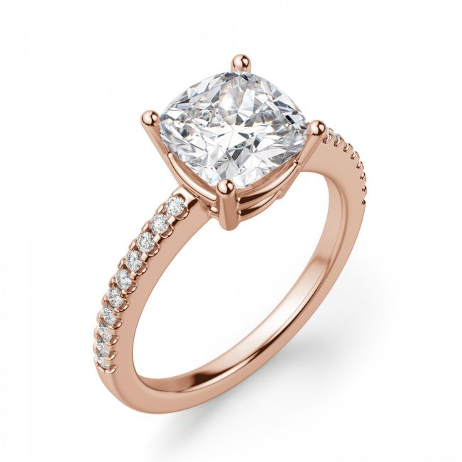 Кольцо из золота с бриллиантом Кушон с паве - Фото 2