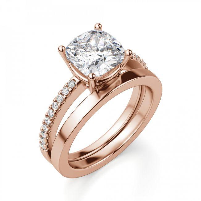 Кольцо из золота с бриллиантом Кушон с паве - Фото 4