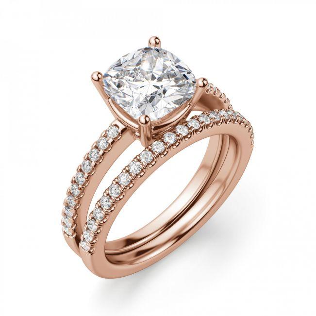 Кольцо из золота с бриллиантом Кушон с паве - Фото 3