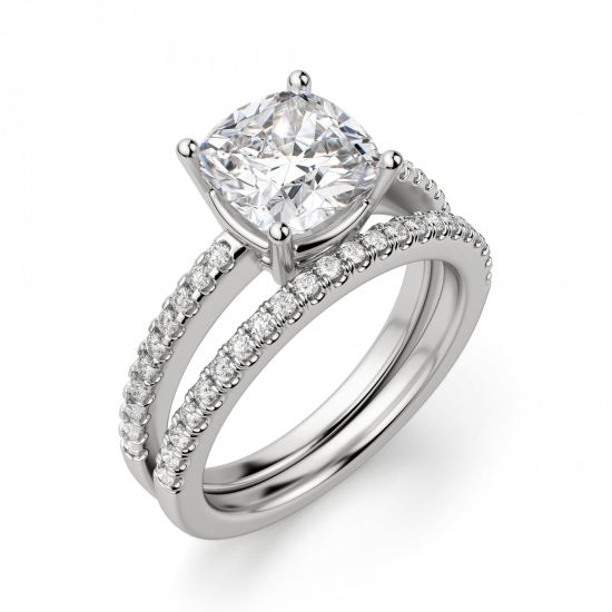 Кольцо с бриллиантом Кушон с паве по бокам,  Больше Изображение 2