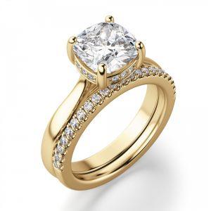 Золотое кольцо с бриллиантом Кушон из золота - Фото 2