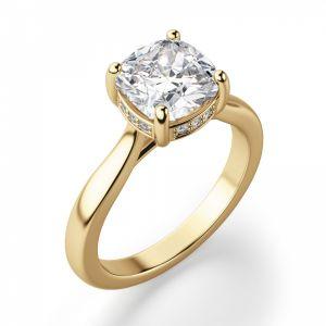 Золотое кольцо с бриллиантом Кушон из золота - Фото 1