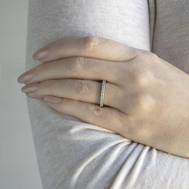 Кольцо дорожка с 15 бриллиантами на половину кольца - Фото 3