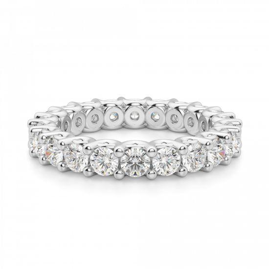 Кольцо дорожка с белыми бриллиантами по кругу,  Больше Изображение 3