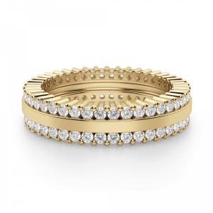 Кольцо из золота с двойной дорожкой из бриллиантов - Фото 2