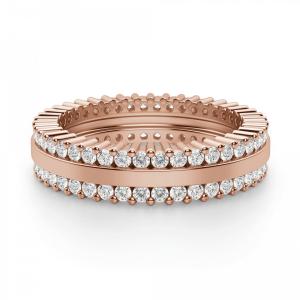 Кольцо с двойной дорожкой из бриллиантов