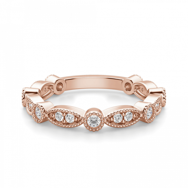 Ажурное кольцо дорожка с бриллиантами из розового золота