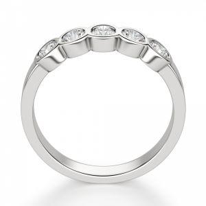Кольцо дорожка с 5 бриллиантами в глухой закрепке